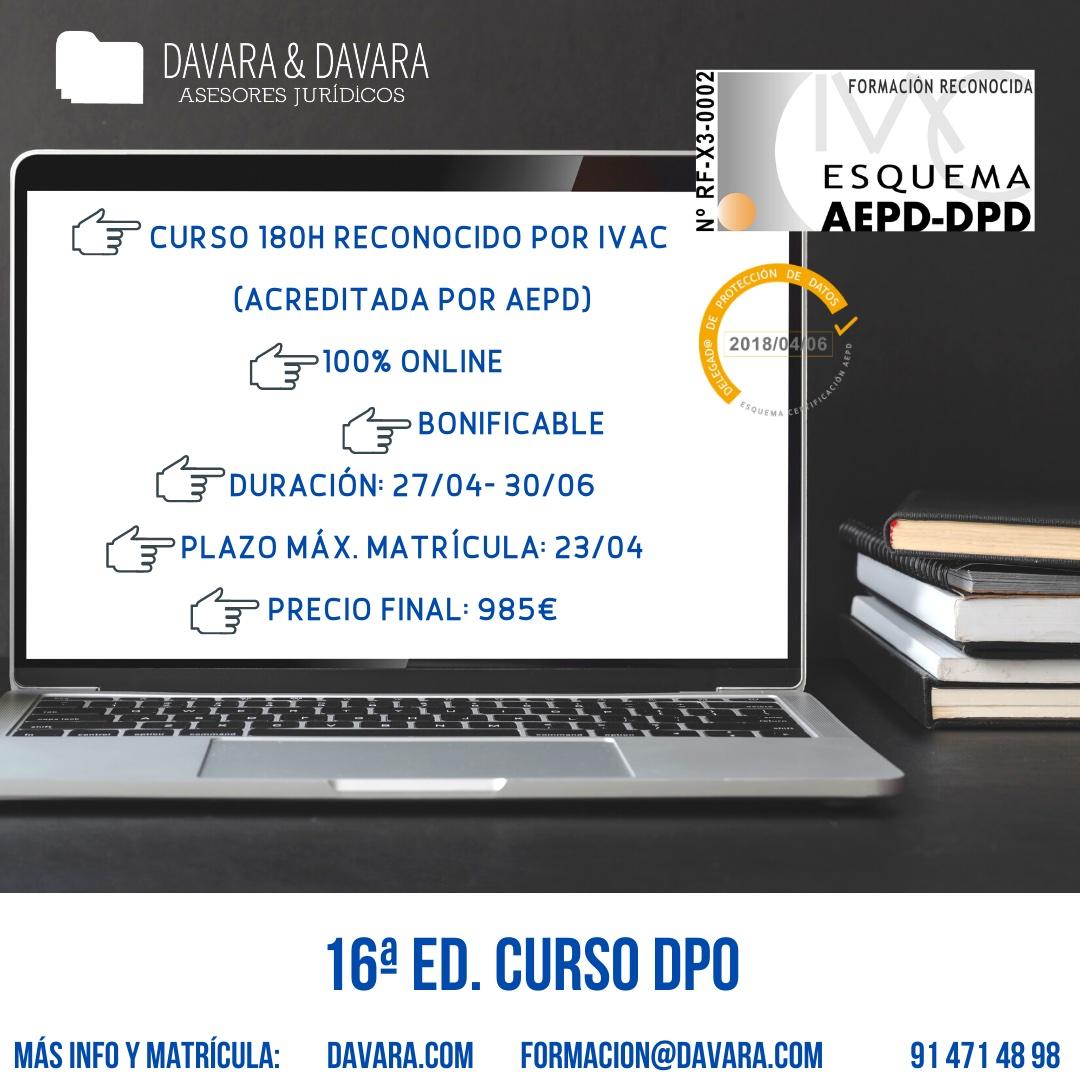 Curso DPO DPD reconocido online 180 horas